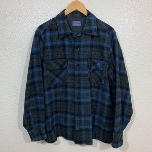 Vintage 60s Pendleton Virgin Wool Plaid Shirt